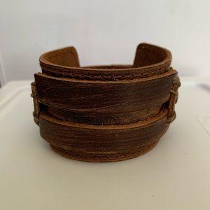 Brown Genuine Leather Vintage Style Cuff Bracelet